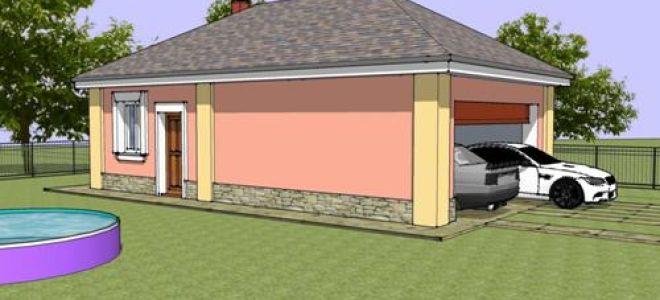 Проект сауны с гаражом 55 кв.м — 101-055
