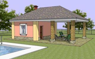 Проект бани с террасой 21 кв.м — 101-021