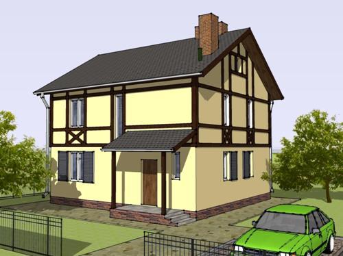 Общий вид проекта двухэтажного дома 125 кв.м