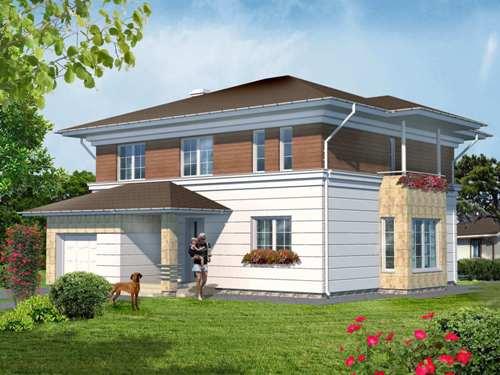 Общий вид проекта двухэтажного дома 187 кв.м