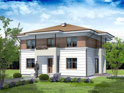 Общий вид проекта двухэтажного дома 177 кв.м