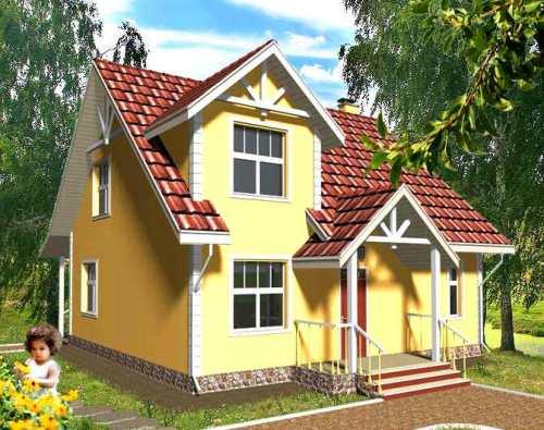 Общий вид проекта мансардного дома 144 кв.м