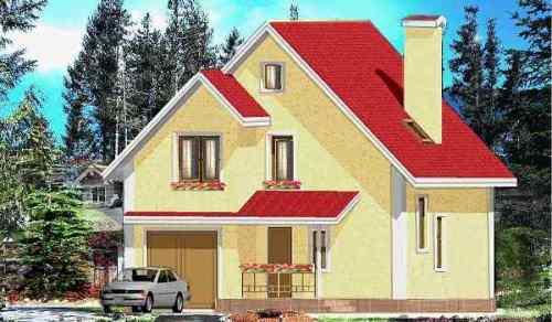 Общий вид проекта дома с мансардой 121 кв.м