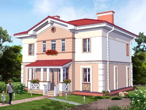 Общий вид проекта двухэтажного дома 204 кв.м