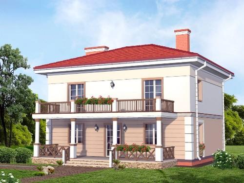 проекты домов двухэтажных с балконом и террасой фото