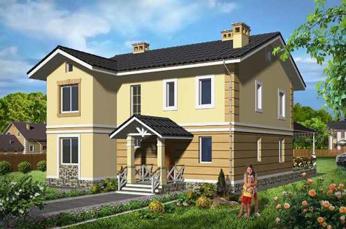 Общий вид проекта двухэтажного дома 176 кв.м