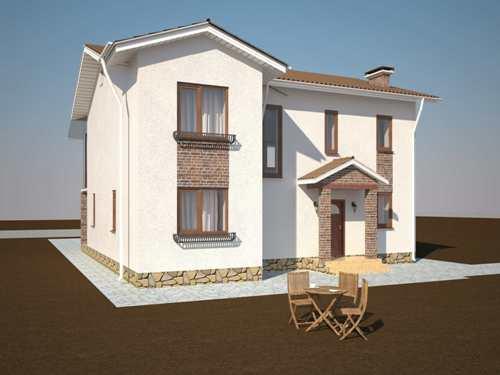 Общий вид проекта двухэтажного дома 174 кв.м