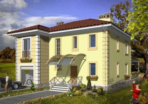 Общий вид проекта двухэтажного дома 180 кв.м