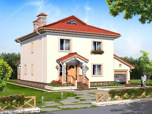 Общий вид проекта двухэтажного дома 203 кв.м