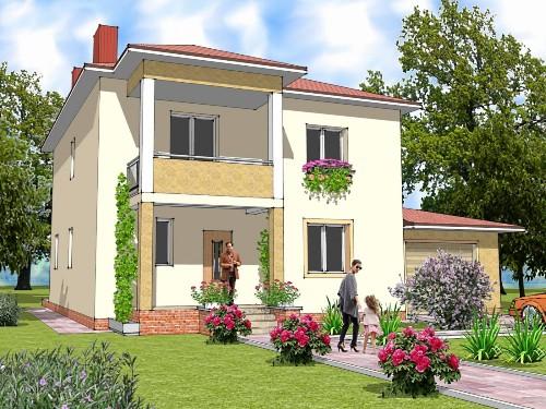 Общий вид проекта двухэтажного дома 209 кв.м