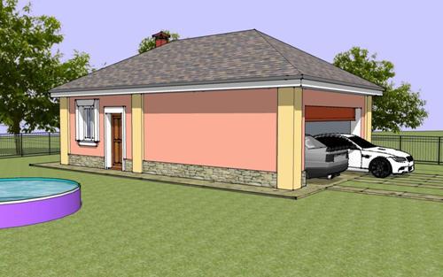 Общий вид проекта сауны с гаражом 55 кв.м