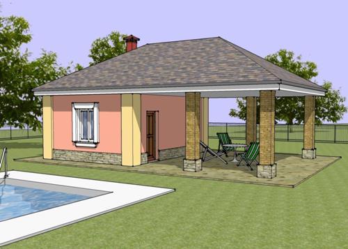 Общий вид проекта бани с террасой 21 кв.м