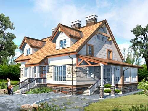Общий вид проекта мансардного дома 349 кв.м