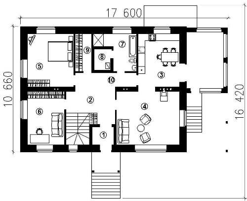 План первого этажа проекта мансардного дома 349 кв.м