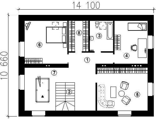 План второго этажа проекта мансардного дома 349 кв.м