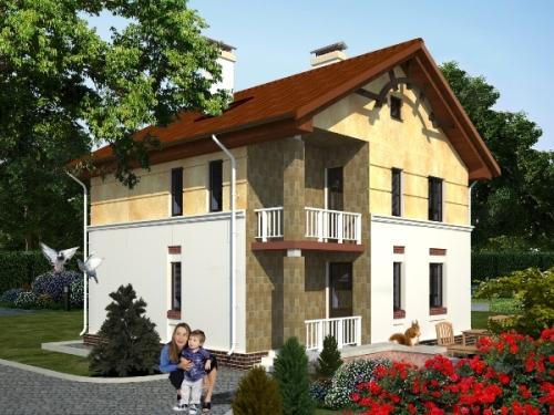 Общий вид проекта двухэтажного дома 130 кв.м