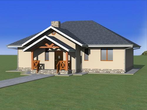 Общий вид проекта одноэтажного дома 120 кв.м