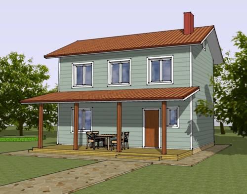 Общий вид проекта двухэтажного дома 73 кв.м