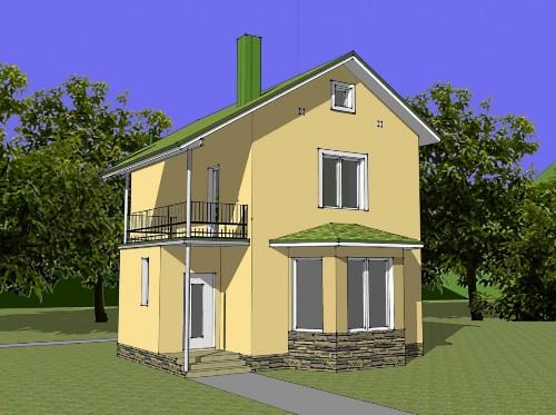 Общий вид проекта двухэтажного дома 82 кв.м