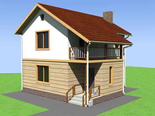 Общий вид проекта двухэтажного дома 71 кв.м