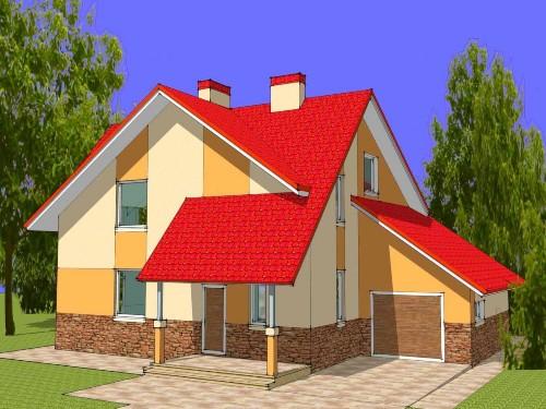 Общий вид проекта мансардного дома 169 кв.м