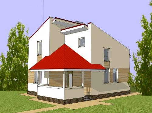 Общий вид проекта мансардногоо дома 67 кв.м