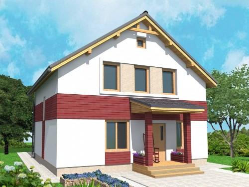 Общий вид проекта дома с мансардой 110 кв.м