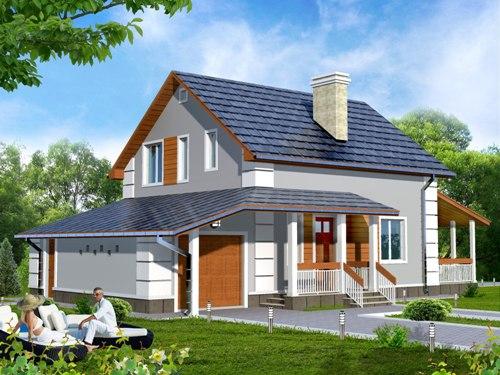 Общий вид проекта мансардного дома 140 кв.м