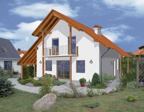 Общий вид проекта дома с мансардой 112 кв.м