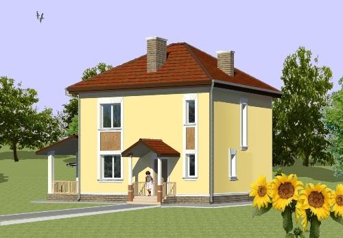 Общий вид проекта двухэтажного дома 117 кв.м