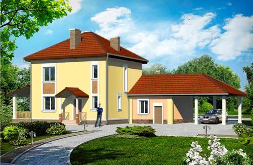 Общий вид проекта двухэтажного дома 138 кв.м