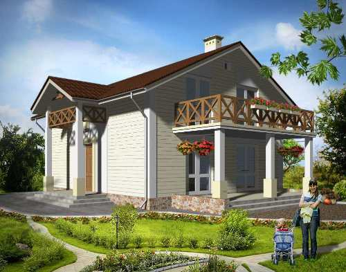 Общий вид проекта мансардного дома 145 кв.м