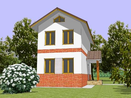 Общий вид проекта двухэтажного дома 72 кв.м