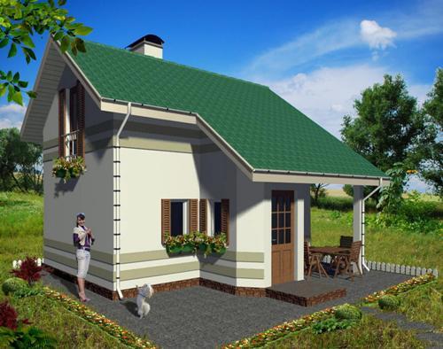 Общий вид проекта дачного дома 46 кв.м