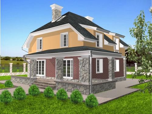 Общий вид проекта мансардного дома 174 кв.м