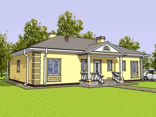 Общий вид проекта одноэтажного дома 145 кв.м