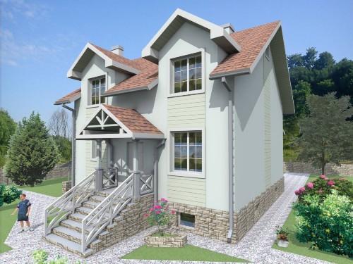Общий вид проекта мансардного дома 202 кв.м