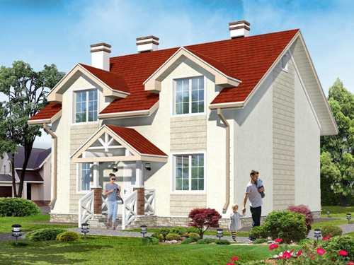 Общий вид проекта двухэтажного дома 136 кв.м