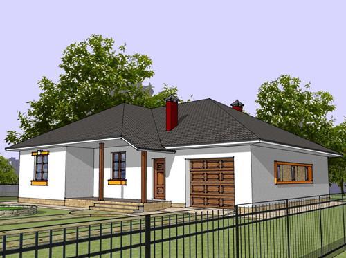 Общий вид проекта одноэтажного дома 155 кв.м