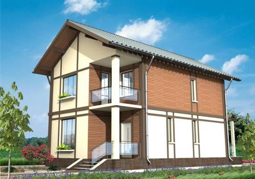 Общий вид проекта двухэтажного дома 104 кв.м
