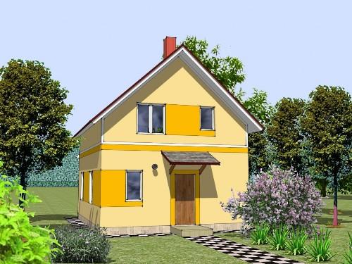 Общий вид проекта мансардного дома 81 кв.м