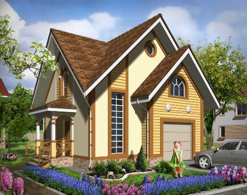 Общий вид проекта мансардного дома 66 кв.м