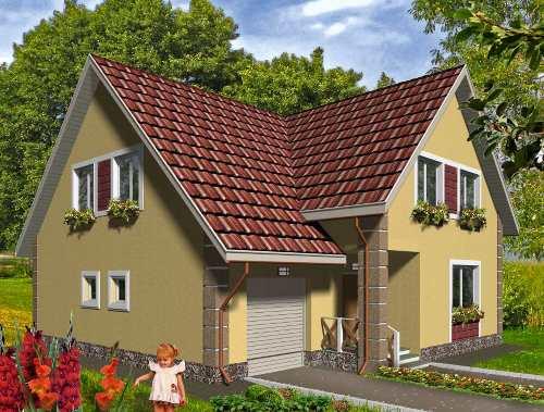 Общий вид проекта мансардного дома 190 кв.м