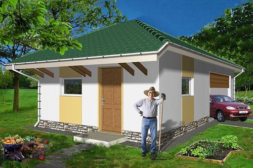 Общий вид проекта сарая с гаражом 40 кв.м