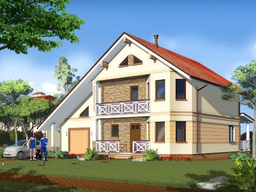 Общий вид проекта  двухэтажного дома 196 кв.м