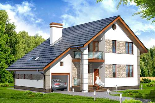Общий вид проекта мансардного дома 161 кв.м