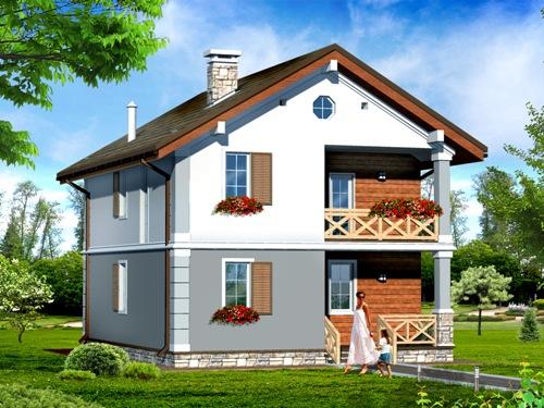 Общий вид проекта двухэтажного дома 122 кв.м