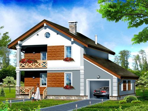 Общий вид проекта двухэтажного дома 154 кв.м