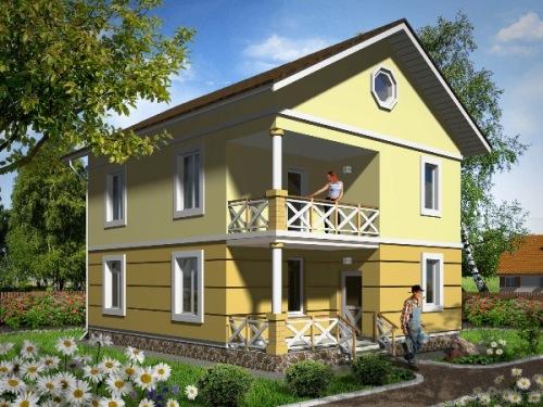 Общий вид проекта двухэтажного дома 123 кв.м