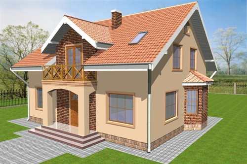 Общий вид проекта мансардного дома 182 кв.м